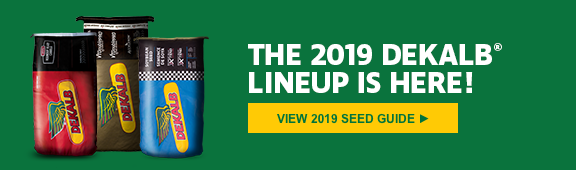 "Image of 3 DEKALB seed bags with the text ""The 2019 DEKALB lineup is here! View 2019 seed guide"""