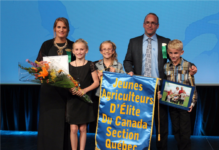 Canada's Outstanding Young Farmer Program, sponsored by Bayer: Dominic Drapeau and Célia Neault of Ferme Drapeau et Bélanger won in 2016.